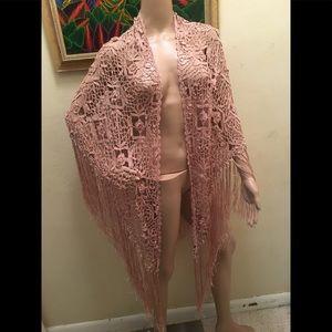 New Crochet fringe kimono